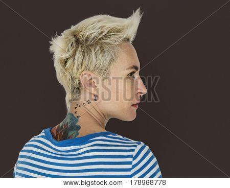 Caucasian Blonde Woman Cool Tattoo