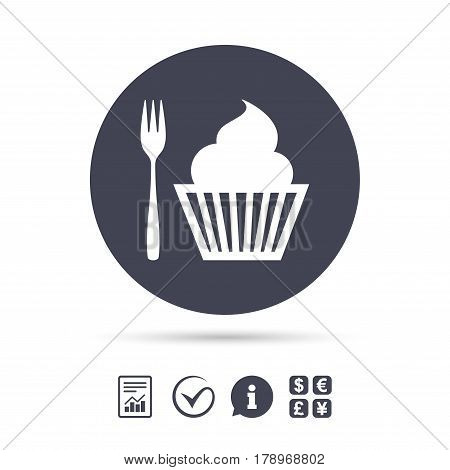 Eat sign icon. Dessert trident fork with muffin. Cutlery symbol. Report document, information and check tick icons. Currency exchange. Vector