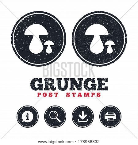 Grunge post stamps. Mushroom sign icon. Boletus mushroom symbol. Information, download and printer signs. Aged texture web buttons. Vector