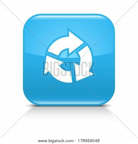 Blue icon with white arrow refresh repeat reload rotation sign. Set 04. Rounded square button with black shadow and gray reflection on white background. Vector illustration web design save in 8 eps