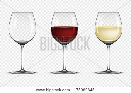 Vector realistic wineglass icon set - empty, with white and red wine, isolated on transparent background. Design template, EPS10 illustration.