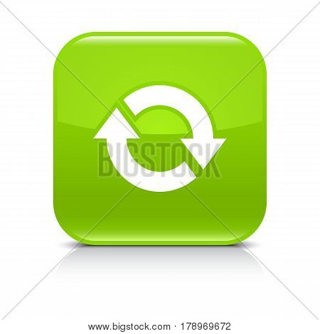 Green icon with white arrow repeat reload refresh rotation sign. Set 03. Rounded square button with gray reflection black shadow on white background. Vector illustration web design in 8 ep