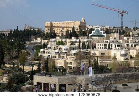 JERUSALEM ISRAEL - MARCH 25 2017: View of the King David Hotel from the walls of the Old City of Jerusalem
