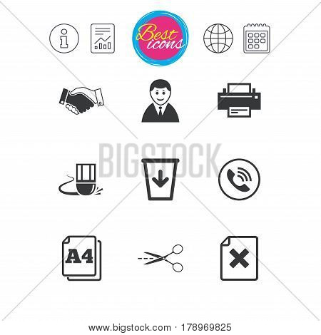 Information, report and calendar signs. Office, documents and business icons. Printer, handshake and phone signs. Boss, recycle bin and eraser symbols. Classic simple flat web icons. Vector