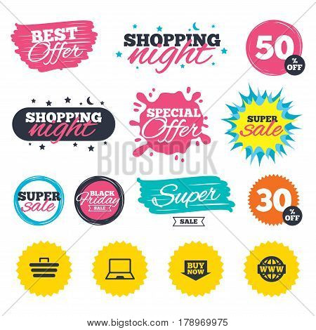 Sale shopping banners. Special offer splash. Online shopping icons. Notebook pc, shopping cart, buy now arrow and internet signs. WWW globe symbol. Web badges and stickers. Best offer. Vector