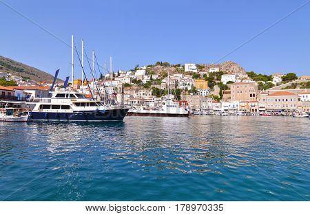 landscape of Hydra port Saronic Gulf Greece