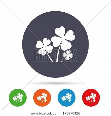 Clovers with four leaves sign icon. Saint Patrick symbol. Round colourful buttons with flat icons. Vector