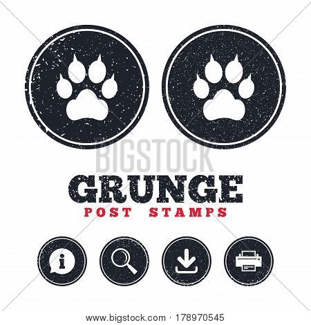 Grunge post stamps. Dog paw with clutches sign icon. Pets symbol. Information, download and printer signs. Aged texture web buttons. Vector