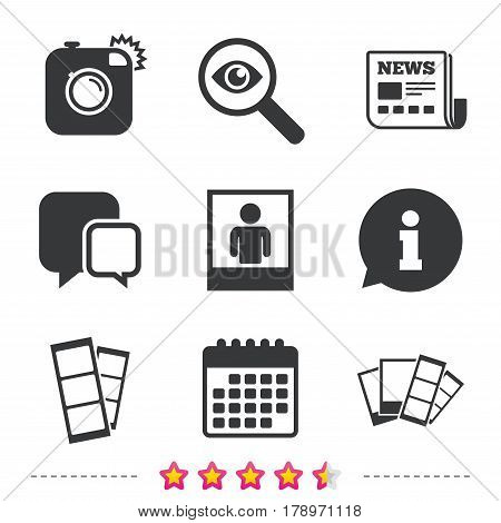 Hipster photo camera icon. Flash light symbol. Photo booth strips sign. Human portrait photo frame. Newspaper, information and calendar icons. Investigate magnifier, chat symbol. Vector