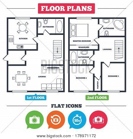 Architecture plan with furniture. House floor plan. Photo camera icon. Flip turn or refresh symbols. Stopwatch timer 10 seconds sign. Kitchen, lounge and bathroom. Vector