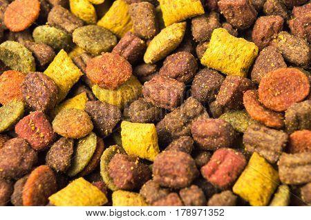 Cat food granule making background texture pattern