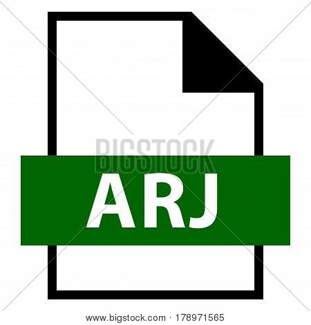 Use it in all your designs. Filename extension icon ARJ in flat style. Quick and easy recolorable shape. Vector illustration a graphic element.