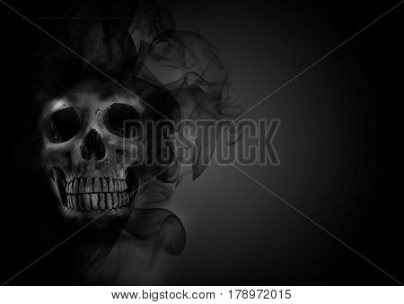 skull smoke effect on the background ,