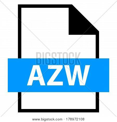 Use it in all your designs. Filename extension icon AZW Word in flat style. Quick and easy recolorable shape. Vector illustration a graphic element.