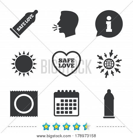 Safe sex love icons. Condom in package symbol. Fertilization or insemination. Heart sign. Information, go to web and calendar icons. Sun and loud speak symbol. Vector