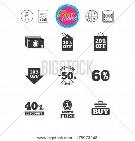 Information, report and calendar signs. Sale discounts icon. Shopping cart, buying and cash money signs. 40, 50 and 60 percent off. Special offer symbols. Classic simple flat web icons. Vector