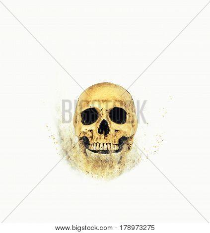 skull sand storm effect on white backgroung