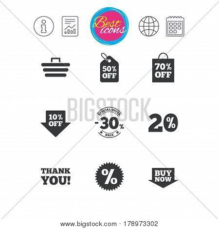 Information, report and calendar signs. Sale discounts icon. Shopping cart, coupon and buy now signs. 20, 30 and 50 percent off. Special offer symbols. Classic simple flat web icons. Vector