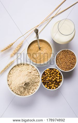 Sattu Atta / Satu or sattu cha Peeth is one of the best natural and nutritionally rich food.It is made from dry roasted and puffed wheat and chana dal, a healthy breakfast drink from maharashtra, india