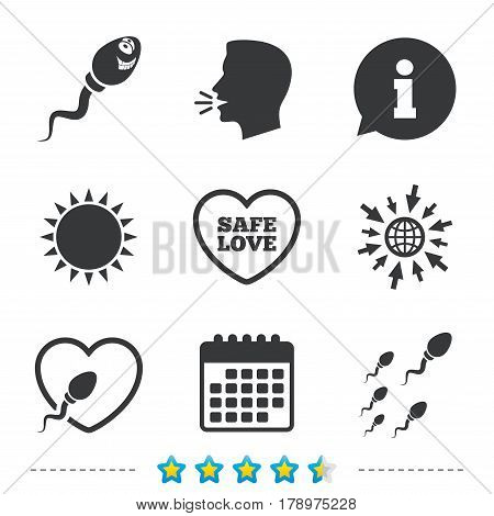 Sperm icons. Fertilization or insemination signs. Safe love heart symbol. Information, go to web and calendar icons. Sun and loud speak symbol. Vector
