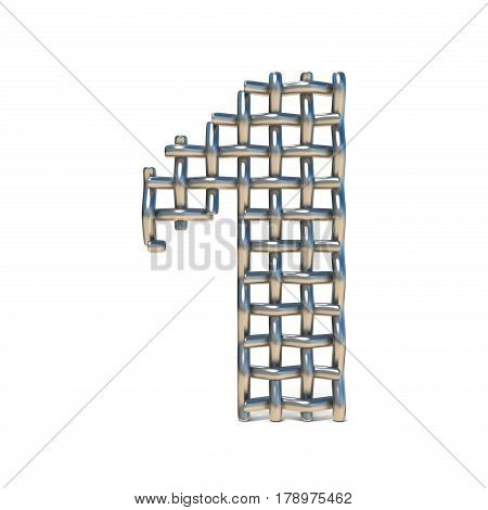 Metal Wire Mesh Font Number 1 One 3D
