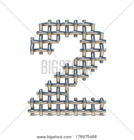 Metal Wire Mesh Font Number 2 Two 3D