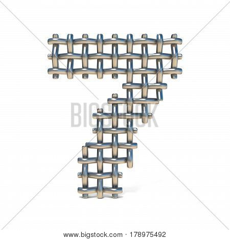 Metal Wire Mesh Font Number 7 Seven 3D