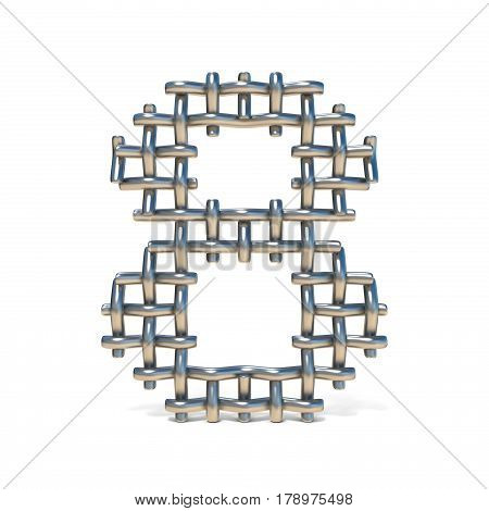 Metal Wire Mesh Font Number 8 Eight 3D