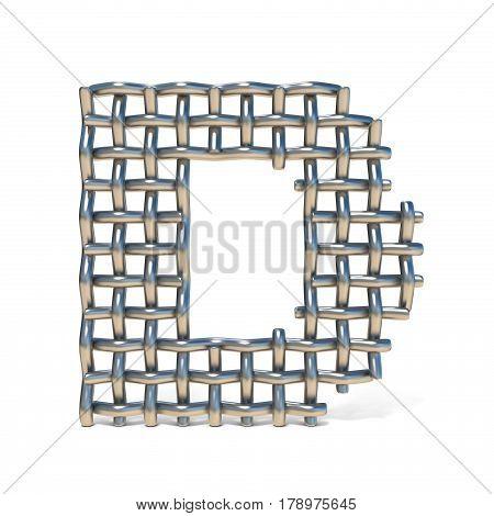 Metal Wire Mesh Font Letter D 3D