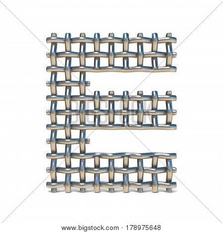Metal Wire Mesh Font Letter E 3D