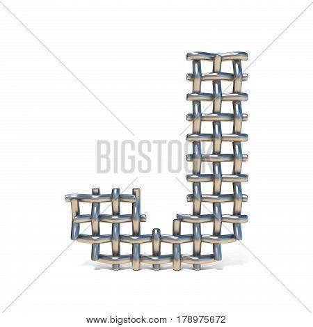 Metal Wire Mesh Font Letter J 3D