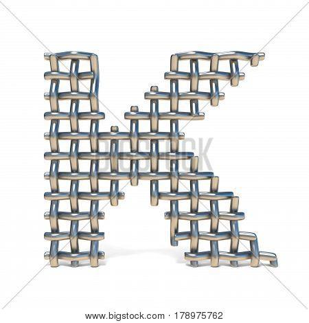 Metal Wire Mesh Font Letter K 3D