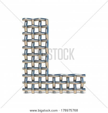 Metal Wire Mesh Font Letter L 3D