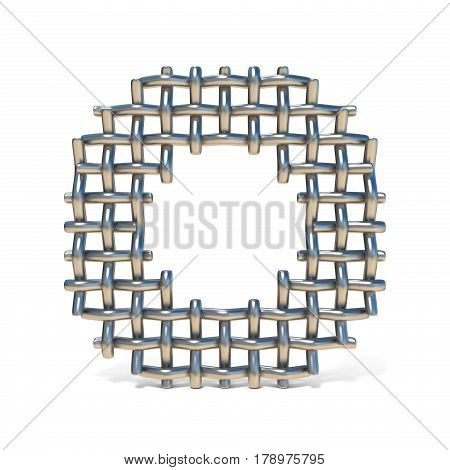 Metal Wire Mesh Font Letter O 3D