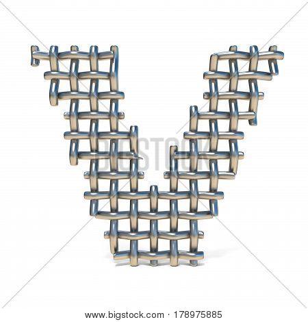 Metal Wire Mesh Font Letter V 3D
