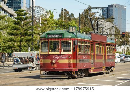 MELBOURNE AUSTRALIA - NOVEMBER 03 2016: A Melbourne City Circle tram arriving at the docklands area of the city.