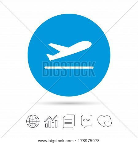 Plane takeoff icon. Airplane transport symbol. Copy files, chat speech bubble and chart web icons. Vector