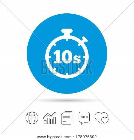 Timer 10 seconds sign icon. Stopwatch symbol. Copy files, chat speech bubble and chart web icons. Vector