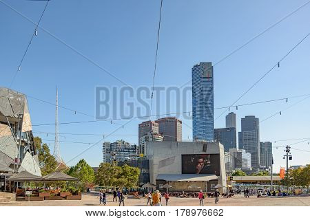 MELBOURNE AUSTRALIA - NOVEMBER 03 2016: Federation Square in Melbourne Australia.