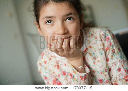 Portrait of 12-year-old brunette girl