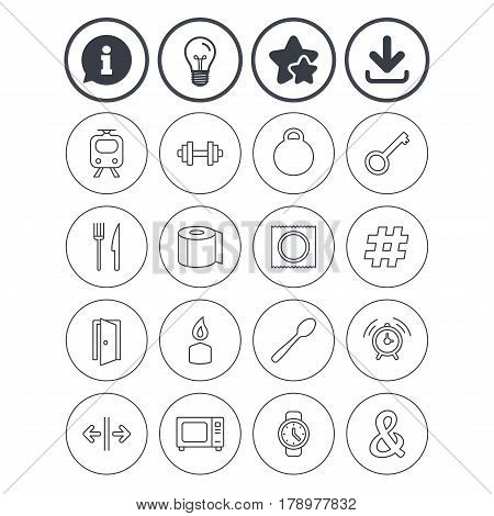 Information, light bulb and download signs. Universal icons. Fitness dumbbell, home key and candle. Toilet paper, knife and fork. Microwave oven. Best quality star symbol. Flat buttons. Vector