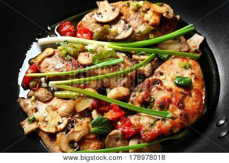 Tasty chicken marsala, closeup