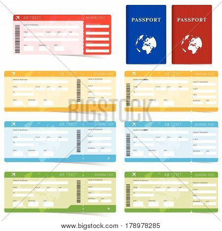 Air Ticket And Passport Set In Color Illustration
