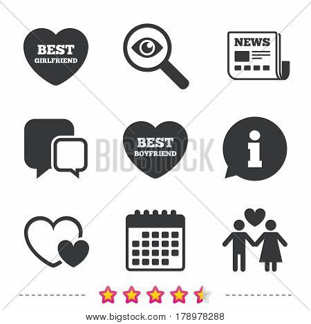 Valentine day love icons. Best girlfriend and boyfriend symbol. Couple lovers sign. Newspaper, information and calendar icons. Investigate magnifier, chat symbol. Vector