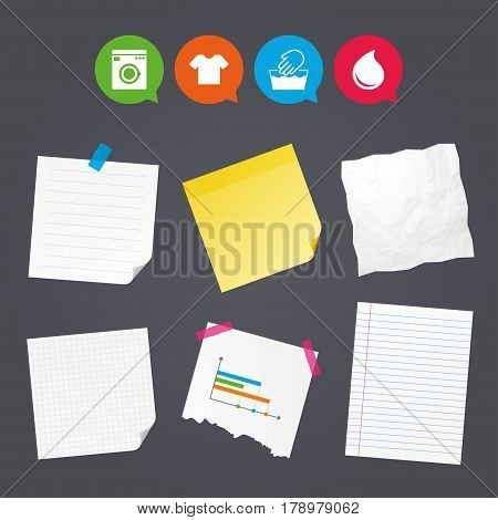 Business paper banners with notes. Wash machine icon. Hand wash. T-shirt clothes symbol. Laundry washhouse and water drop signs. Not machine washable. Sticky colorful tape. Speech bubbles with icons