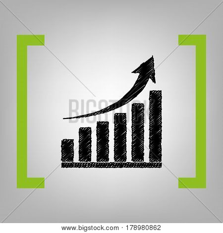 Growing graph sign. Vector. Black scribble icon in citron brackets on grayish background.