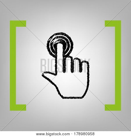 Hand click on button. Vector. Black scribble icon in citron brackets on grayish background.