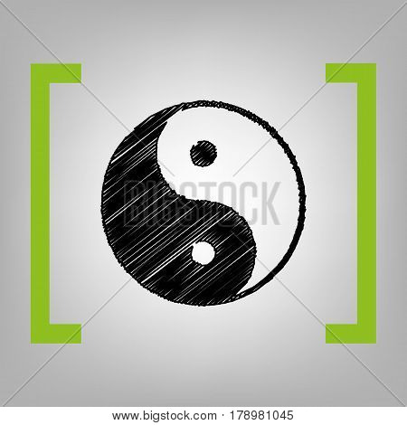 Ying yang symbol of harmony and balance. Vector. Black scribble icon in citron brackets on grayish background.