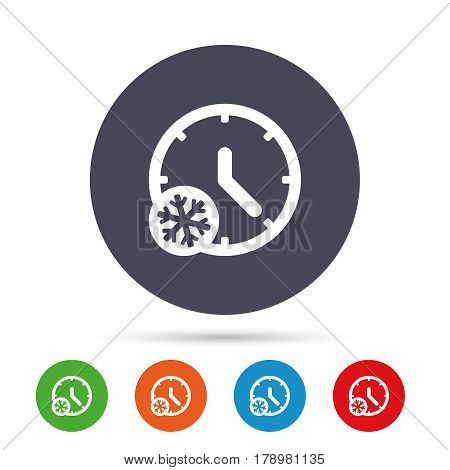 Winter time icon. Snowy cold day sign. Daylight saving time with snowflake symbol. Round colourful buttons with flat icons. Vector