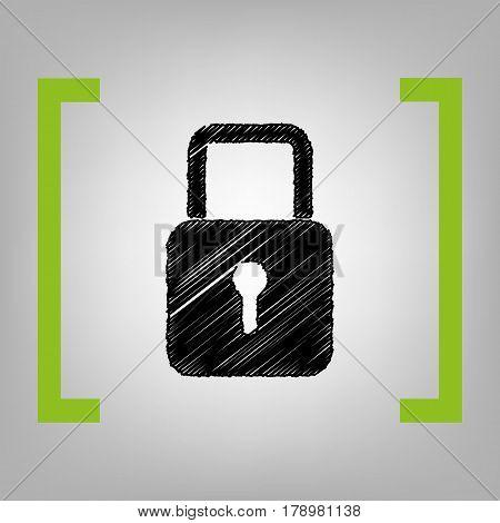 Lock sign illustration. Vector. Black scribble icon in citron brackets on grayish background.